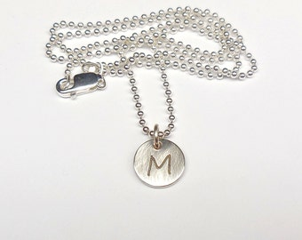 Silver necklace engraved letter Segoe print 925 Silver