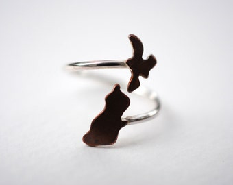 New Zealand North and South Island Twist Country Ring (Sterling Silver & Copper Place Ring)