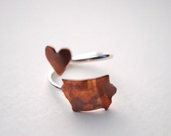 Iowa Twist Place Ring (Sterling Silver & Copper Place State Love Map Ring)