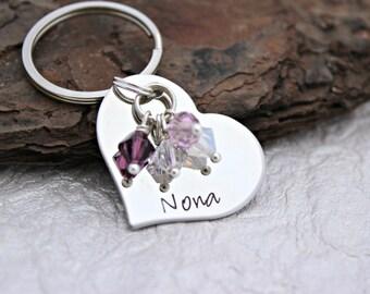 Grandma Keychain - Nana Keychain - Mom Keychain - Personalized Heart Keychain- Mom Gift - Grandma Gift - Family Keychain - Nana Gift