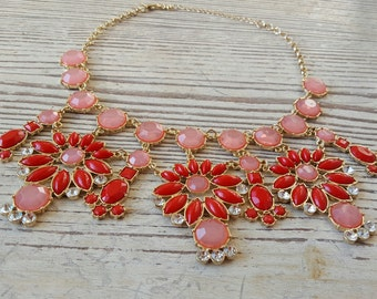 Coral Statement Necklace - Coral Red Statement Necklace - Bib Necklace - Red Necklace - Coral Jewelry - Party Necklace - Shop Necklaces