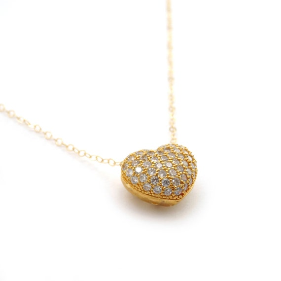 Small Heart Necklace, Gold Heart Pendant, CZ Heart Charm, Wedding Necklace, Wedding Gift, Anniversary Gift, Dainty Heart, Delicate Heart