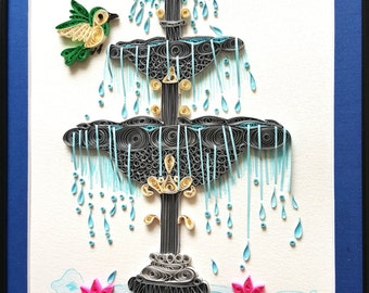 Water Fountain | indoor fountain | House warming gift | Bird art | garden landscape flowers wall home decor wall art | Nature art print