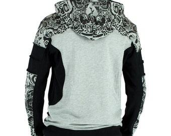 Hooded tribal sweater for mens, psychedelic tattoo print, Maori design, psywear clothes, alternative fashion, Inca jungle spirit prints