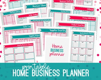 Home Business Planner, Small Business Planner, Half Size + Letter Size, Business Planner, Printable, 18 Sheets, CHEVRON