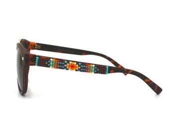 Beaded Sunglasses, Brown Navajo Sunglasses, Brow Bar frames, Retro Sunglasses, Unique Sunnies, Summer Accessories, Round Sunglasses Lenses