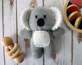 Natural Fiber Hand Knit Koala, Children's Stuffed Toy, Soft Plush, Baby Shower, Nursery Decor, Merino Wool, Stocking Stuffer