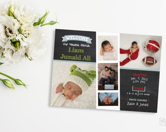 Printable sports birth announcement Baby announcement Boy birth announcement New baby post card Football birth announcement