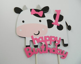 Cow Cake Topper Farm Animal Cake Topper Cow Birthday Decorations Cow Birthday Party First Birthday Party Farm Birthday Party
