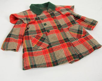 Plaid Double Breasted Kid's Vintage Winter Coat Prolege Jacket Size 3