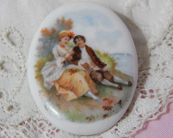 Young Couple by the Water - Ceramic Button