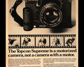 1974 Topcon Super DM 35mm Camera Ad - Wall Art - Home Decor - B&W - Photography - Retro Vintage Electronics Advertising