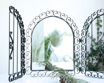 French  wall mirror with shutters, 1950s