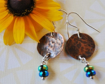 Round Copper earrings with blue and green dangles,  metal earrings, rustic earrings, artisan earrings