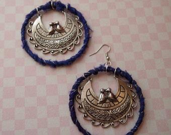 Earrings, Silk earrings, Hoops, Hoop earrings, Large Earrings, Sari Silk Jewelry, Womens Jewelry, Wrapped Earrings, Handmade earrings