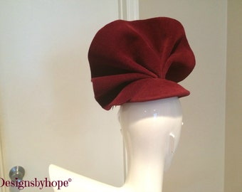 Haute Couture Fascinator, Avant Garde, Haute Couture Headpiece, Couture Hat, Burgundy Couture Fascinator