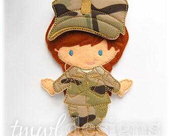 Military Combat Uniform Felt Paper Doll Toy Outfit Digital Design File - 5x7