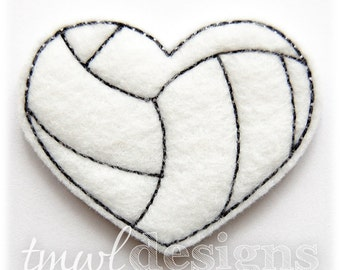 "Volleyball Heart Feltie Digital Design File - 1.75"""