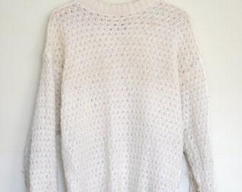 White Knit Vintage 80's Grandpa Sweater/Jumper