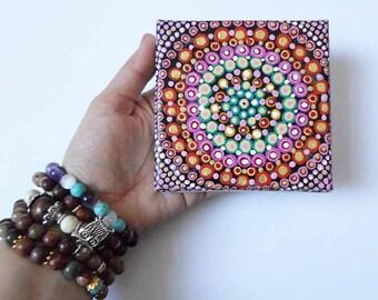 Colorful Dot Mandala Painting, Spiritual Ethnic Painting, Yoga Art Wall decor, Meditation Art Original Acrylic painting, Mini Canvas Art
