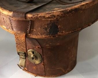 Antique Victorian 1860s-1890s Leather Top Hat Case