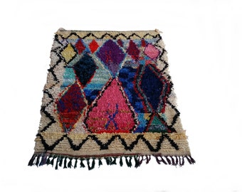 """79""""X55"""" Vintage Moroccan rug woven by hand from scraps of fabric / boucherouite / boucherouette"""