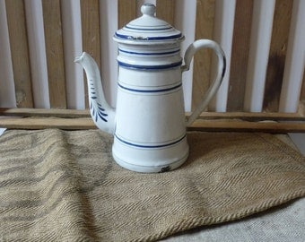 French Antique Enamel Coffee Pot with Lid and Filter Enamelware French Country Decor