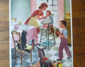 French Vintage School Poster The Lunch Educational Poster Wall Decor