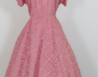 1950s Flamingo Pink Lace Dress with Taffeta Ribbon Trim