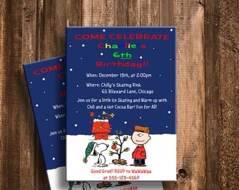 Charlie Brown Christmas Inspired Winter Birthday Invitations