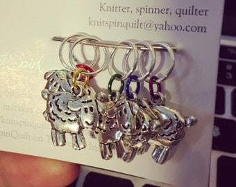 Rainbow sheep silver charm knitting stitch markers -- set of five -- fits up to US 9 needles