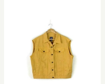 STORE WIDE SALE Oversized Mustard Yellow  Denim Cut off  Vest  from 90's*