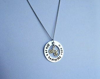"Hand Stamped Bike Necklace | Life is a Beautiful Ride | 1.25"" Pendant"