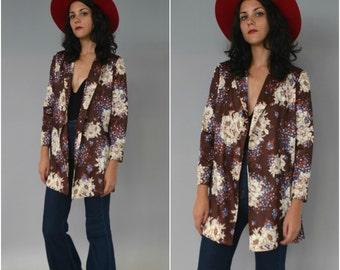 1970s handmade brown floral open cardigan