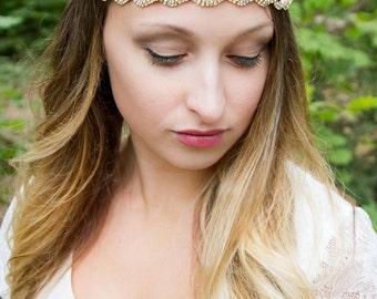 Gold Headpiece for Wedding - Bridal - Gold Headpiece - Crystal Rhinestone - Ribbon Tie back