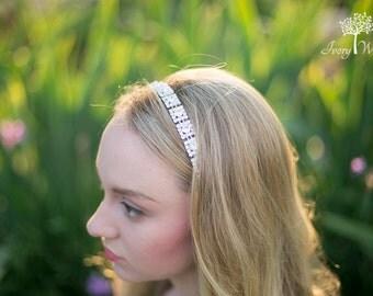 Square Wedding Headband - Tie Back Headband - Square Rhinestone Headband - Bridal Headband - Bridesmaid - Prom - Wedding Accessory - Silver