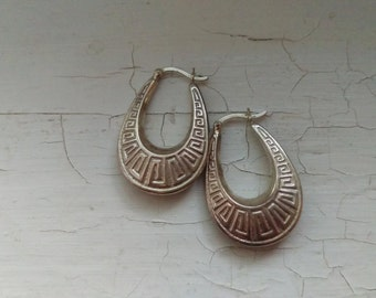 Vintage Sterling Silver Hoop Earrings With Greek Key Design