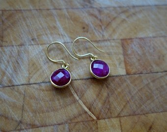 Ruby Faceted Round and Gold Earrings, Gold Vermeil and Precious Gemstone Earrings, July Birthstone