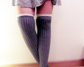 Over the Knee Socks Grey Lace Boot Socks Lace Pointelle Otk Socks Over the Knee Lace Socks CottonWomens Cotton Tall Long Grey Boot Socks