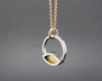 Sterling Silver and 24K Gold Necklace - Venn Diagram Gold Necklace