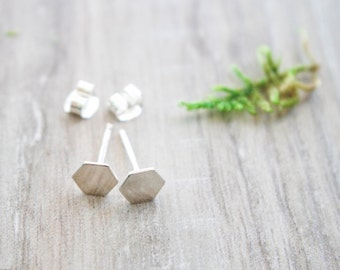 Hexagon studs | Silver Hexagon earrings | Geometric studs | Simple studs | Sterling silver studs