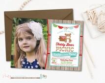 Picnic Birthday Invitation, Teddy Bear Picnic, Red Gingham Invitation, Wood and Gingham, Picnic Invitation, Summer Invitation, Teddy Bears