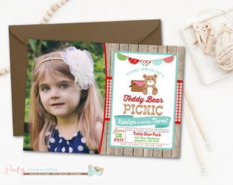 Picnic Birthday Invitation, Teddy Bear Picnic, Red Gingham Invitation, Wood and Gingham, Picnic Invitation, Summer Invitation, Teddy Bears