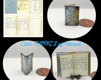 Miniature Book VINTAGE LEDGER Dollhouse 1:12 Scale Book