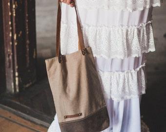 Hemp Canvas and Leather tote bag, Canvas bag, Shoulder Bag, Leather Bag, Street Bag,