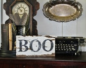 Halloween BOO Sign Vintage Salvage Barn Wood Reclaimed White Chippy Paint French Country Farmhouse Decor Architectural Painted Sign Party