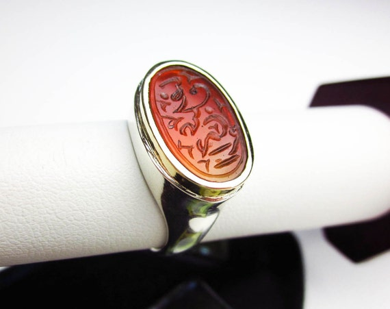 signet ring antique carnelian intaglio seal custom set18k