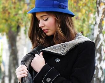Blue felt hat for her - Women winter hat - Wool felt hat - 1940s hats for ladies - Winter everyday hat