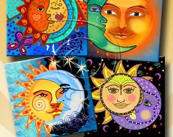 SUN AND MOON - Printable Digital Collage Sheet 12 X 4 inch squares for Coasters, Greeting Cards, Gift Tags.  Instant Download #220.