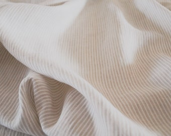 Linen fabric - natural and ivory stripes, pure linen, prewashed and soft - 1 yard